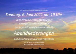Open Air Abendliedersingen in Hörnerkirchen @ Garten der Kita Kirchenstraße